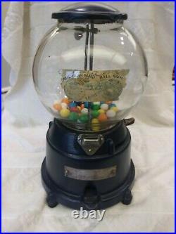 1910 National Novelty Vintage Penny Coin Op Gumball Vending Machine Restored