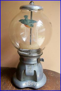 1915 BLUEBIRD 1 cent COIN OP GUMBALL CANDY VENDING MACHINE w GLOBE vtg antique