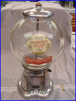 1915 Bluebird Universal Products Vintage 1 Cent Coin Op Gumball Vending Machine