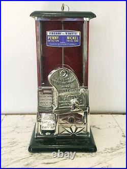 1923 Vintage Antique Black & Red Master Penny Nickel Gooseneck Peanut Machine