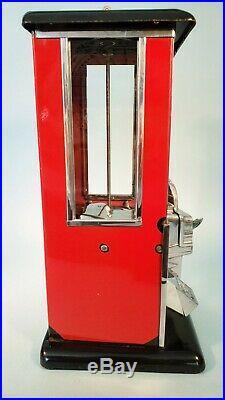 1923 Vintage Antique Black & Red Penny Master Gumball Peanut Vending Machine