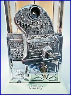 1923 Vintage Antique Green & Tan Gooseneck Master Gumball Peanut Vending Machine