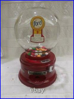 1930's VINTAGE FORD GUMBALL VENDING MACHINE DISH MODEL PENNY COIN OP RESTORED