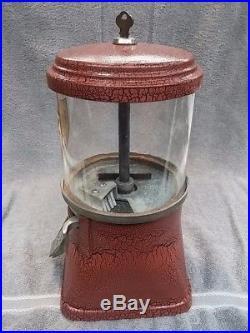 1930's VINTAGE PENNY REGAL CAST IRON GUMBALL BULK VENDING MACHINE COIN OP