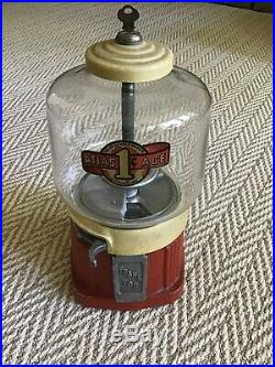 1930's Vintage Atlas Ace Penny Coin Op Bulk Vending Gumball Candy Peanut Machine