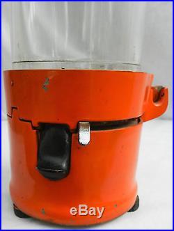 1930s Orange Vintage Vendex 1 Cent Gumball Machine Vending Original Glass