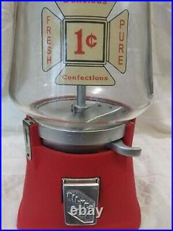 1938 Penny Vintage Silver King Cast Iron Gumball Bulk Vending Coin Op Machine