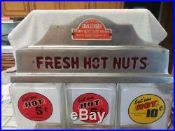 1947 Vintage Challenger Coin Op Fresh Hot Nuts Vending Machine