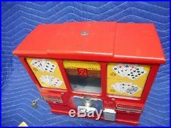 2 Cent Model Oak Premiere Gumball Poker Card Vintage Vending Machine