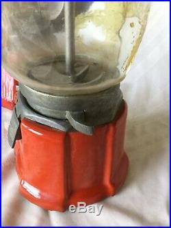 2-Vintage 1cent Northwestern Model Porcelain Glass Globe Gumball/Peanut Machine