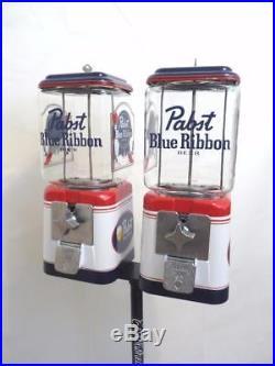 2 vintage Acorn glass globe gumball dispenser candy machine Pabst beer bar gift