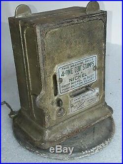 2 vintage Schermack Postage Stamp Vending Machines on rotating base 5 & 10 cent