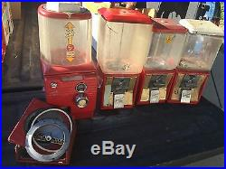 4 Vintage 5 cent Northwestern Gumball Machine Coin Op Plastic & glass globes