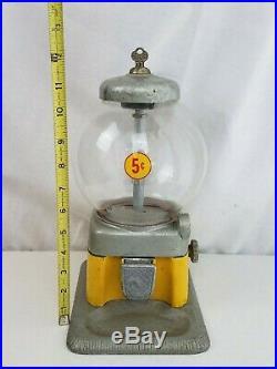 5c GUMBALL MACHINE ORIGINAL w Key Vintage vending peanut metal nice
