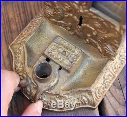 ANTIQUE Vintage Cast Iron Nouveau Coin Op Northwestern Match Box Vendor Machine