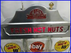 Ajax Triple Hot Nut Vending Machine-Challenger-Vintage 1947-Very Good- Lights up