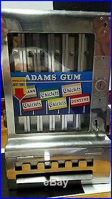 Antique Adams Gum Machine Dispenser Chiclets Subway Vintage Chrome Mills