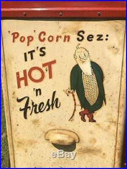 Antique SEZ POP CORN Warmer Advertising Sign Gas Oil Vending Machine Coin Op VTG