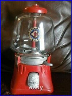 Antique Silver King Try Some 1 Cent Gumball Machine Working Vintage Condition