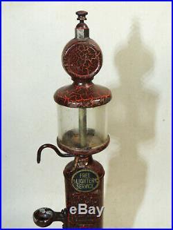 Antique vtg Cast Iron Lighter Fluid Dispenser Filling Station GAS PUMP vtg Cigar