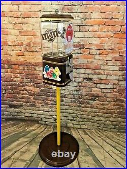 Chocolate M&m candy machine vending vintage 1¢ Acorn glass penny machine