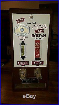 Cigar Vending machine Gum Vending Machine Roi-Tan Cigars Wrigley Gum Vintage