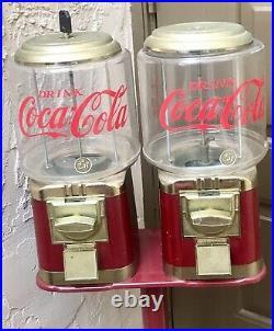Coca-cola Coke Memorabilia Double Gum-ball Machine + Stand Vintage Candy Machine