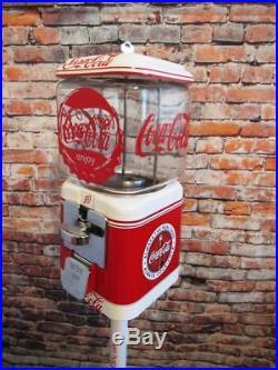 Coke memorabilia vintage gumball machine 10 ¢ Acorn glass + stand Coca cola soda