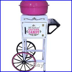 Cotton Candy Machine with Vintage Cart Stand, Hard Candy Sugar Floss Candy Spinner