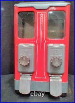 DOUBLE Vintage Candy Peanut Machine 5 Cent Good Working Condition