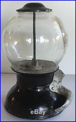 Early Twirl Chute Bluebird Vintage 1 Cent Coin Op Gumball Vending Machine