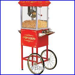 Elite 32 Cup Popcorn Machine Cart, Red Movie Concession Oil Pop Corn Stand Maker