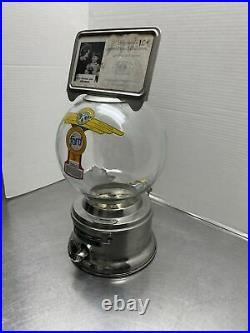 Ford Gumball Machine 10 Cent Vintage Glass Globe With Topper, New Lock And Key
