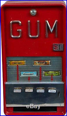 Gum Machine 5 cent vintage vending machine Red Wall Mounted vintage