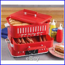 HOT DOG STEAMER MACHINE Electric Food Bun Warmer Cooker Red Retro Vintage
