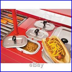 Hot Dog Cart Vintage Hotdog Stand New Vendor Dogs Cooker Stainless Steel Roller