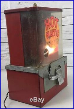 Hot Nuts 10 Cent Vending Machine With Light Has Plug & Key Works Vintage RARE