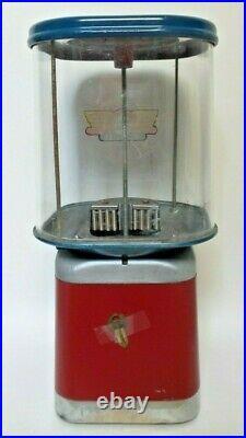 Iconic Vintage OAK ACORN 1 Penny Gumball Machine, Original Paint, Key Works