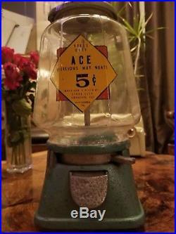 L@@k! Vintage Steel City Vending Co Ace 5 Cent Nut Candy Gumball Vending Machine