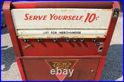 Large Vintage 1950's Tom's Toasted Peanuts & Sandwiches 10c Vending Machine Sign