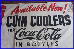 Large Vintage Coca Cola Vending Machine Store Advertising Banner