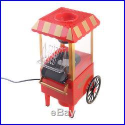 Mini Hot Air Pop Corn Maker Cart Popper Machine Tabletop Vintage Home Movie Red