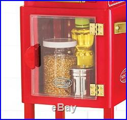 NEW Theater Style Popcorn Machine Home Commercial Vintage Movie Cart For Home