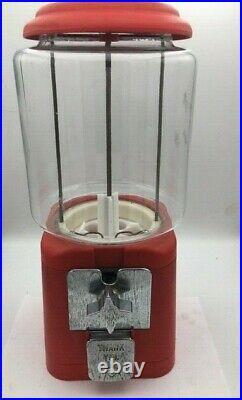 Nice Vintage Oak Acorn 11 lb Round Glass Globe Gumball Candy Nut vending machine