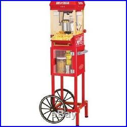 Nostalgia Electrics Popcorn Cart Machine Popper Maker Vintage Red Stand Movie