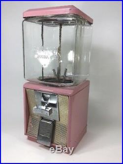 ORIGINAL VINTAGE NORTHWESTERN 10¢ PINK GUMBALL MACHINE WithKEY WORKS! GLASS GLOBE