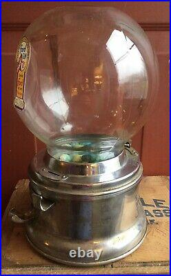 Original Early Vintage FORD Bubble Gum Ball 1 Cent Candy Store Machine Complete