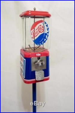 Pepsi cola Acorn glass vending machine vintage gumball machine + Ford stand