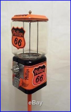 Phillips 66 vintage gumball machine Acorn glass globe + original Ford stand