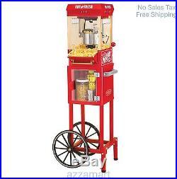 Popcorn Trolley Cart Pop Corn Kettle Popper Machine Maker Red Vintage Stand New
